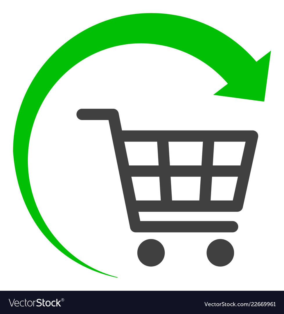 Repeat shopping cart flat icon symbol.