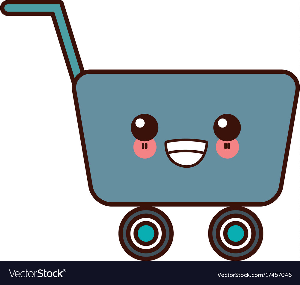 Shopping cart symbol cute kawaii cartoon.