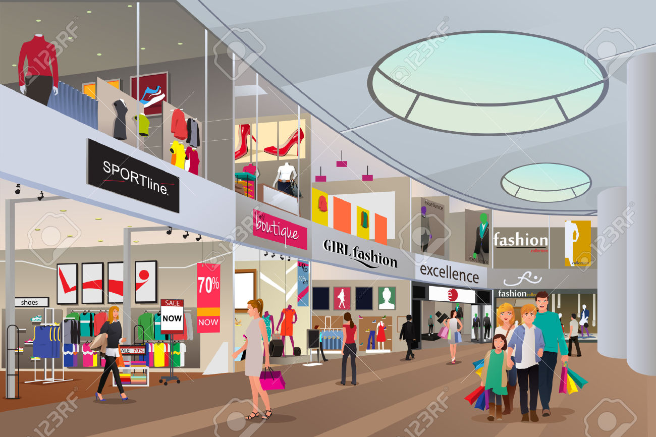 A Vector Illustration Of People Shopping In A Mall Royalty Free.