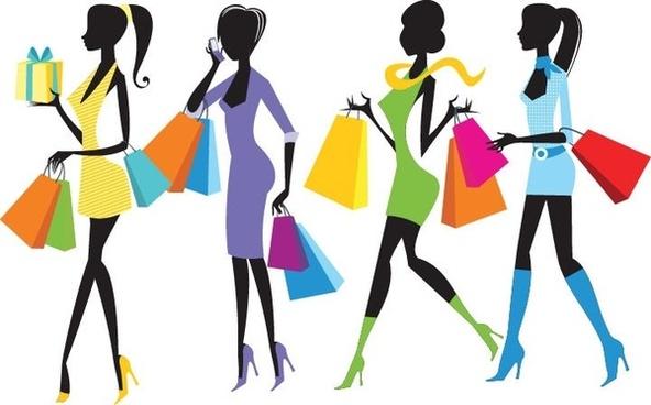 Fashion shopping girls clip art free vector download.