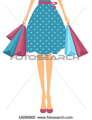 Clipart of Girl with Shopping Bags k9280660.
