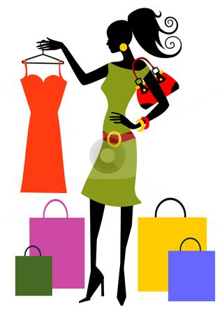 Black Woman Shopping Clipart.