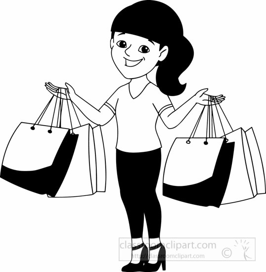 Shopping clipart black and white 6 » Clipart Portal.