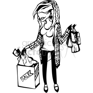 female shopping in black and white clipart. Royalty.
