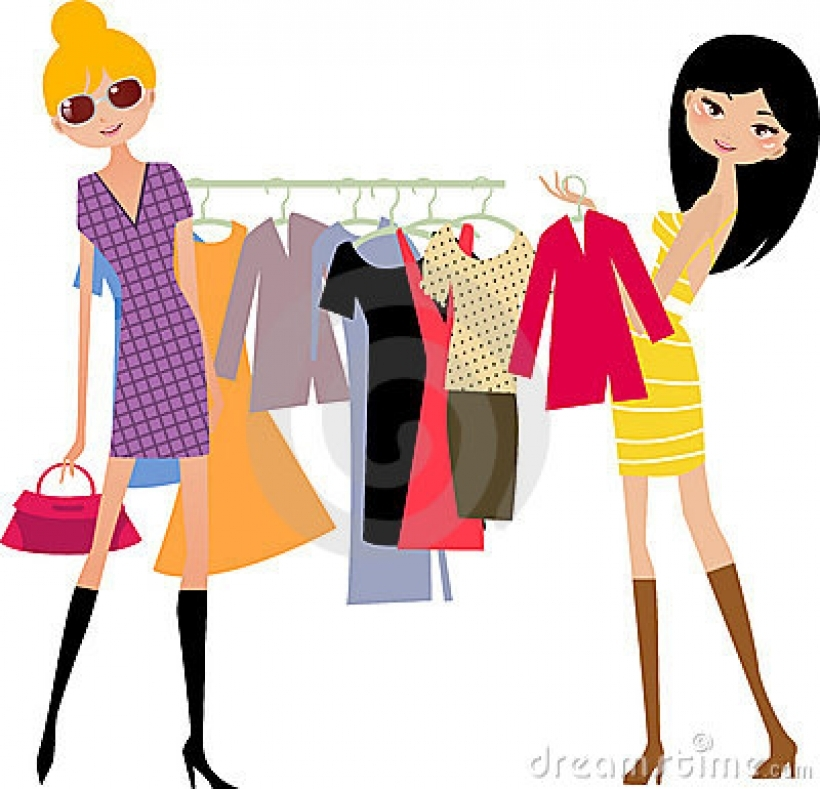 Fashion shopping girl stock image with clipart.