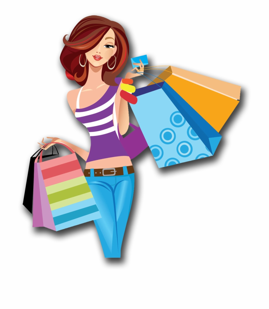 Shopping Cartoon Women Png Image High Quality Clipart.