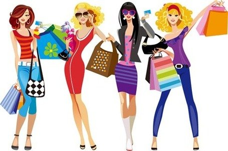 Shopping Girls Clipart Picture Free Download.