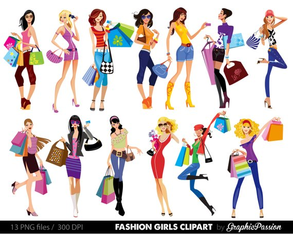 Shopping Girl Digital Images. Stylish Shopping Girls Clipart.