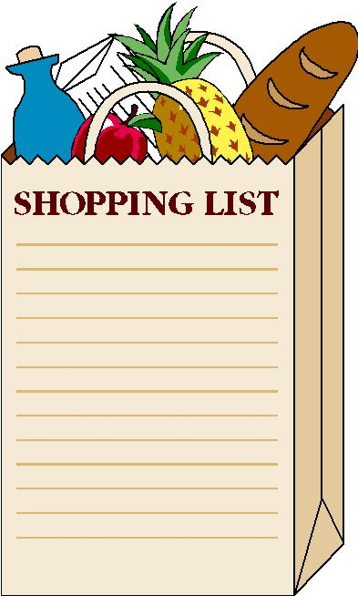 shopping list clipart