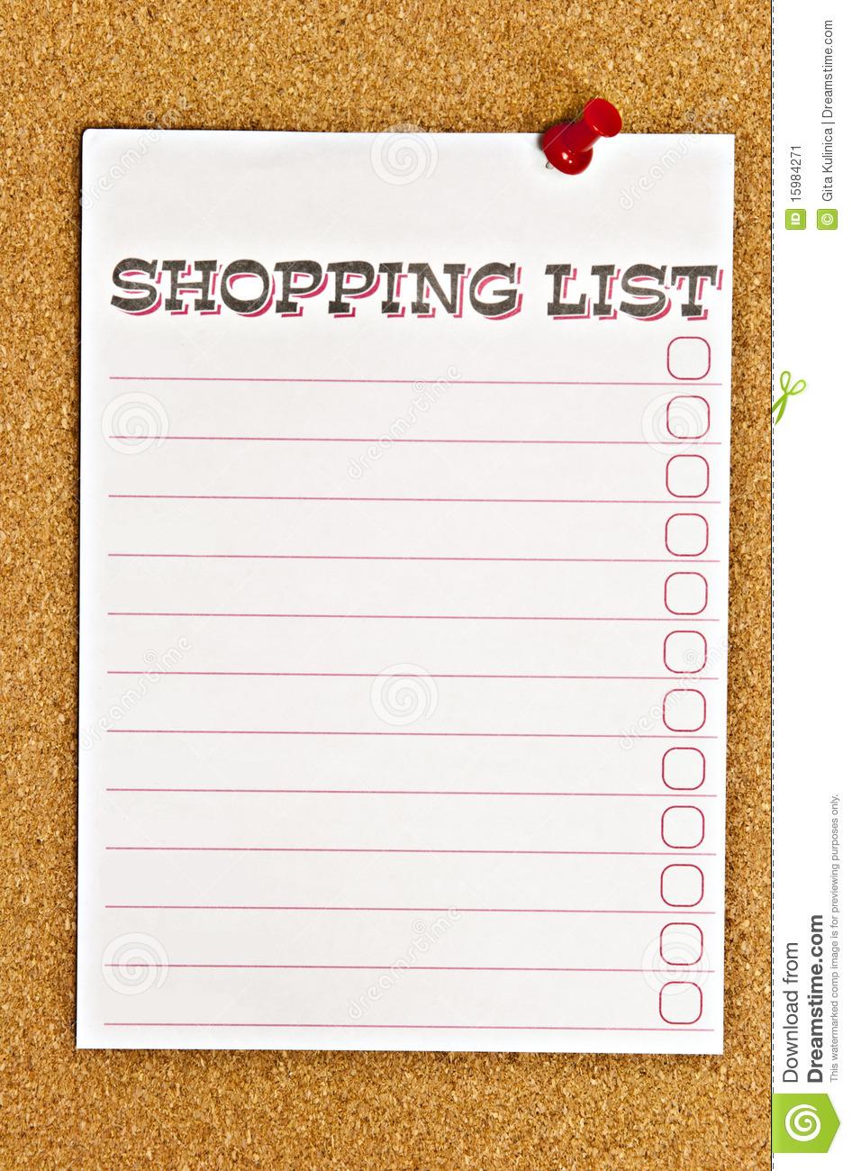 Shopping list clip art.