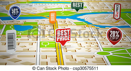 Clipart of GPS city map with price labels. Concept of sale and.