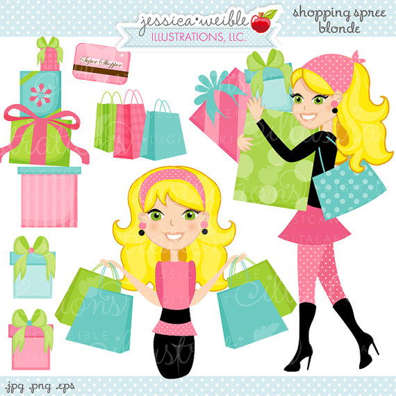 Shopping Spree Blonde Cute Digital Clipart, Commercial Use OK.