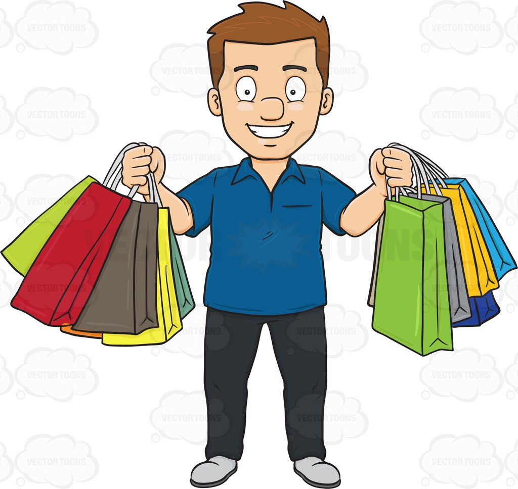 A Man Smiles In Pleasure After A Shopping Spree Cartoon Clipart.