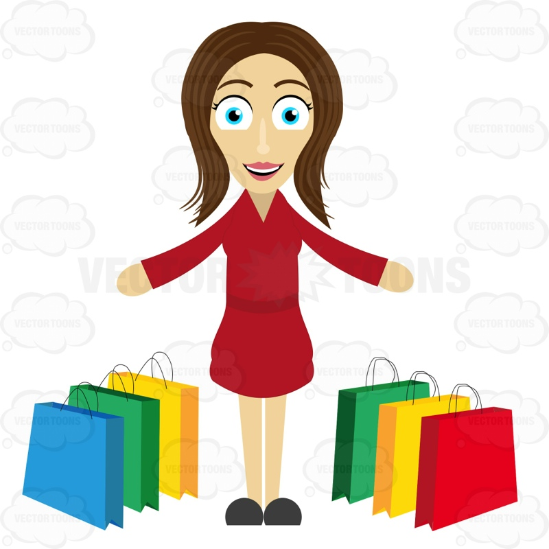 Woman Looking Satisfied After A Shopping Spree Cartoon Clipart.