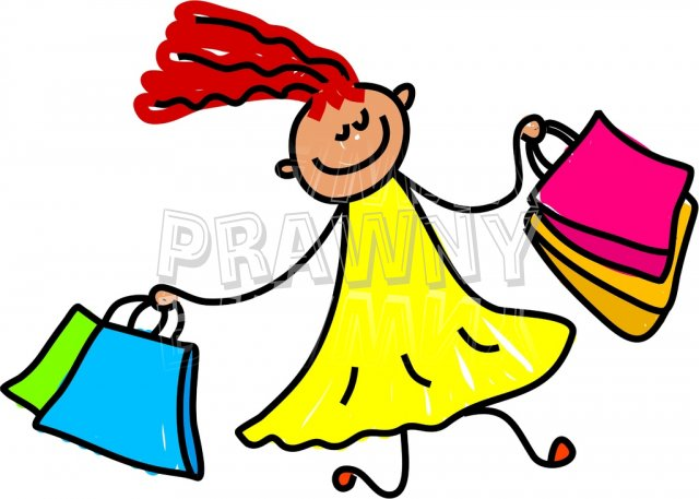 Happy Cartoon Shopping Spree Girl Toddler Art Prawny Clip Art.