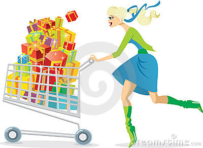 Girl After The Shopping Spree Stock Image.