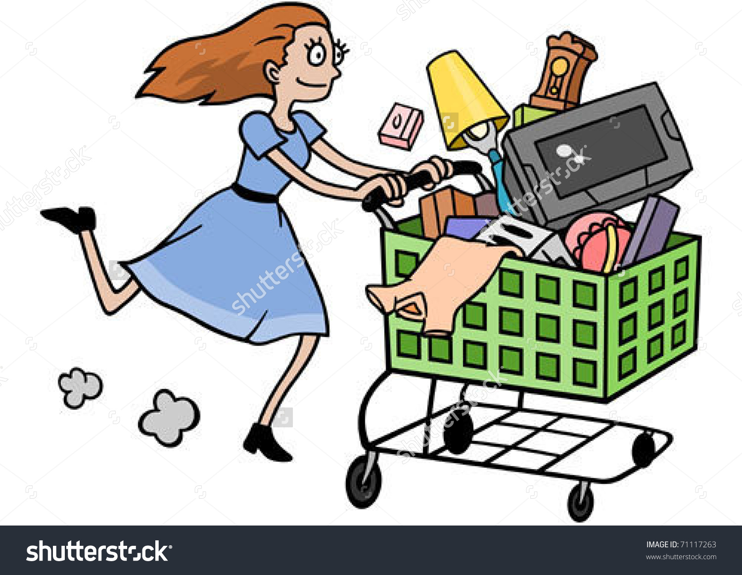 Woman On Major Shopping Spree Stock Vector 71117263.