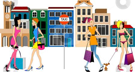 Women shopping on street stock vector.