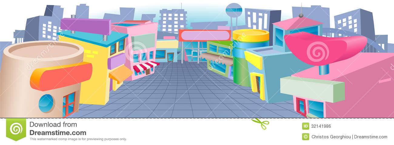 Cartoon Street Of Shops Royalty Free Stock Image.