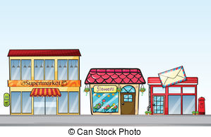 Clipart Vector of Stores on street.