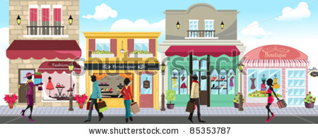 A vector illustration of people shopping in an outdoor shopping.