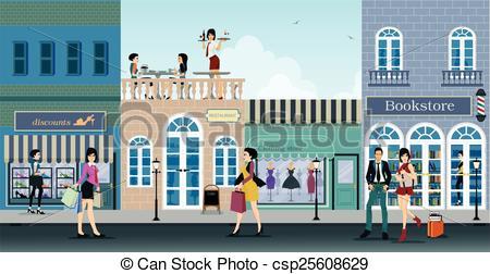 Shopping street Vector Clipart EPS Images. 2,802 Shopping street.