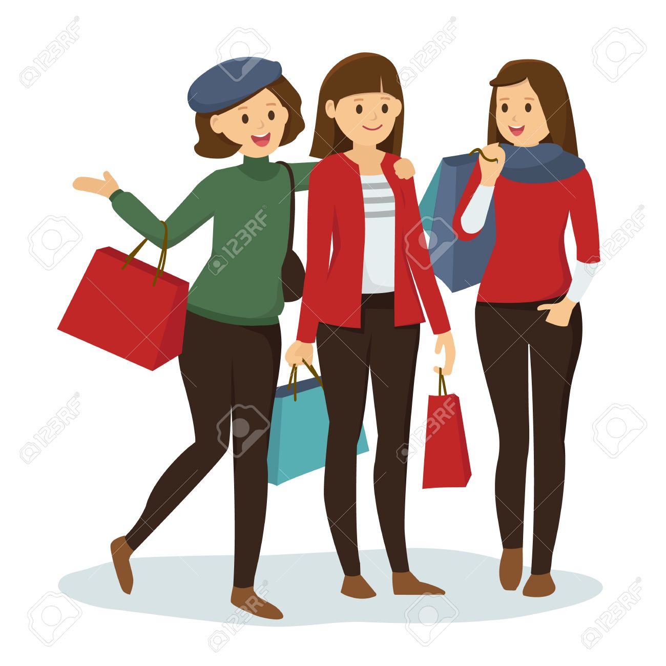 Shopping With Friends Clipart.
