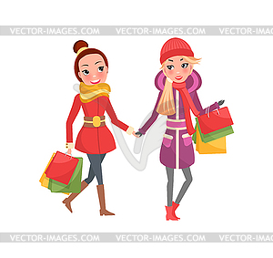 Christmas Shopping, Female Friends with Packages.