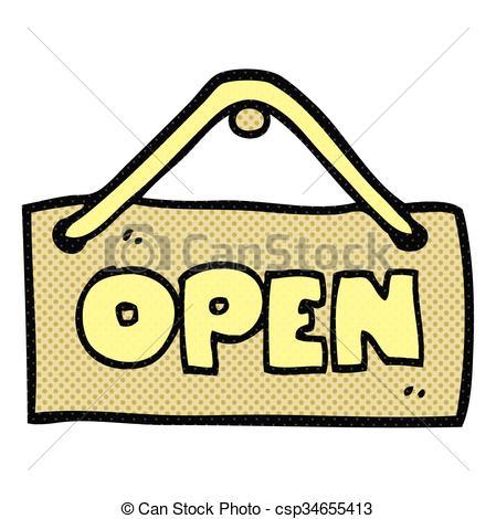 Vector Clip Art of cartoon open shop sign.
