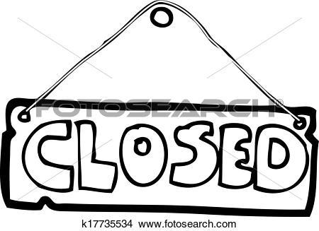 Clipart of cartoon closed shop sign k17735534.