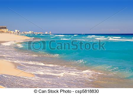 Stock Photography of Cancun caribbean sea beach shore turquoise.