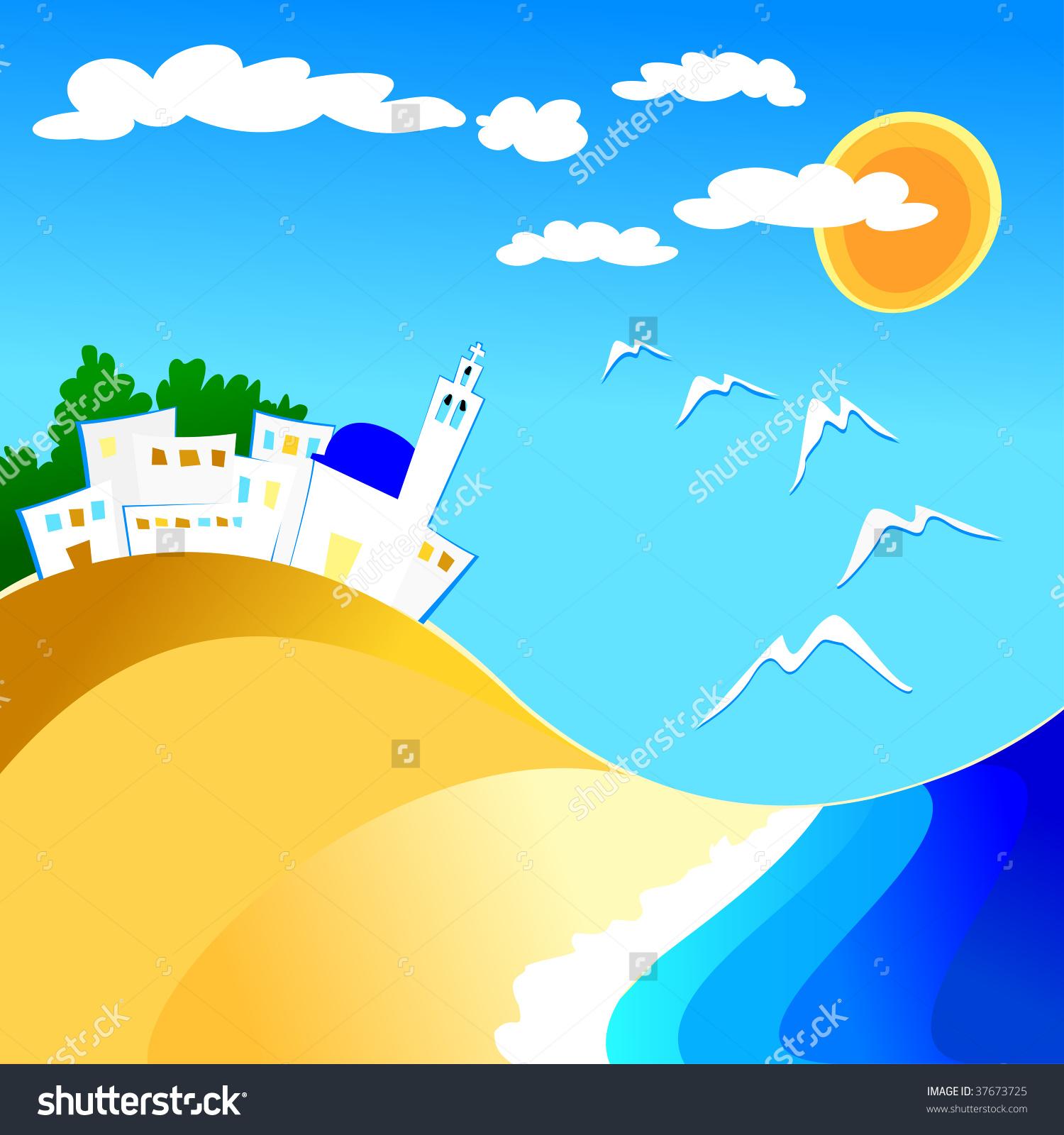 Vector Illustration Depicting Mediterranean Country Beach Stock.