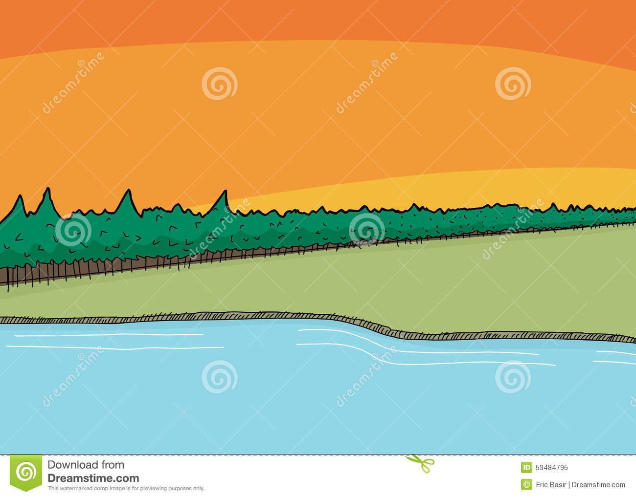 Lake Front Shoreline Wilderness Stock Illustrations.