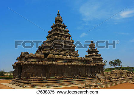 Stock Image of Mamallapuram, shore temple,India k7638875.