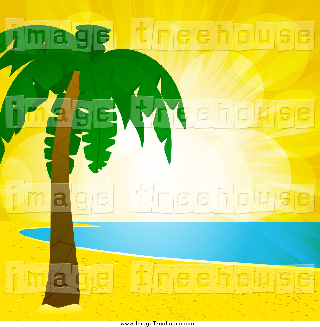 Clipart of Yellow Sunset Flares over a Tropical Beach, Shoreline.