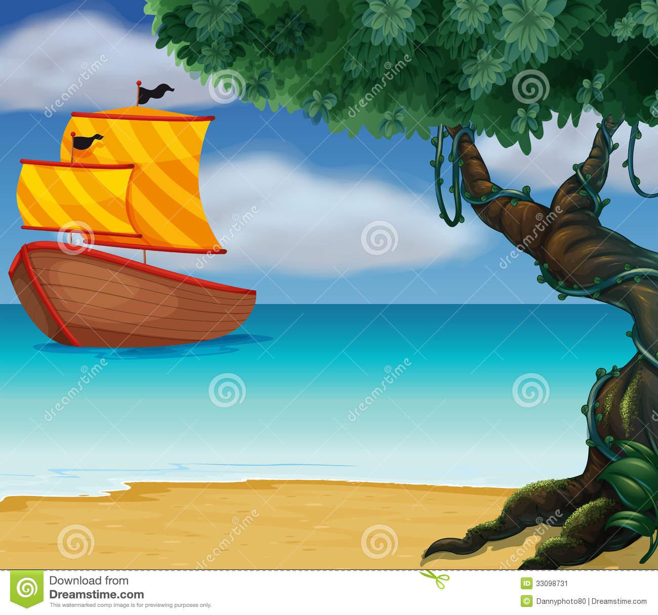 A Wooden Boat Near The Shoreline Stock Image.
