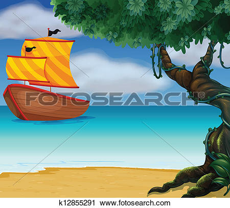 Clipart of A wooden boat near the shoreline k12855291.