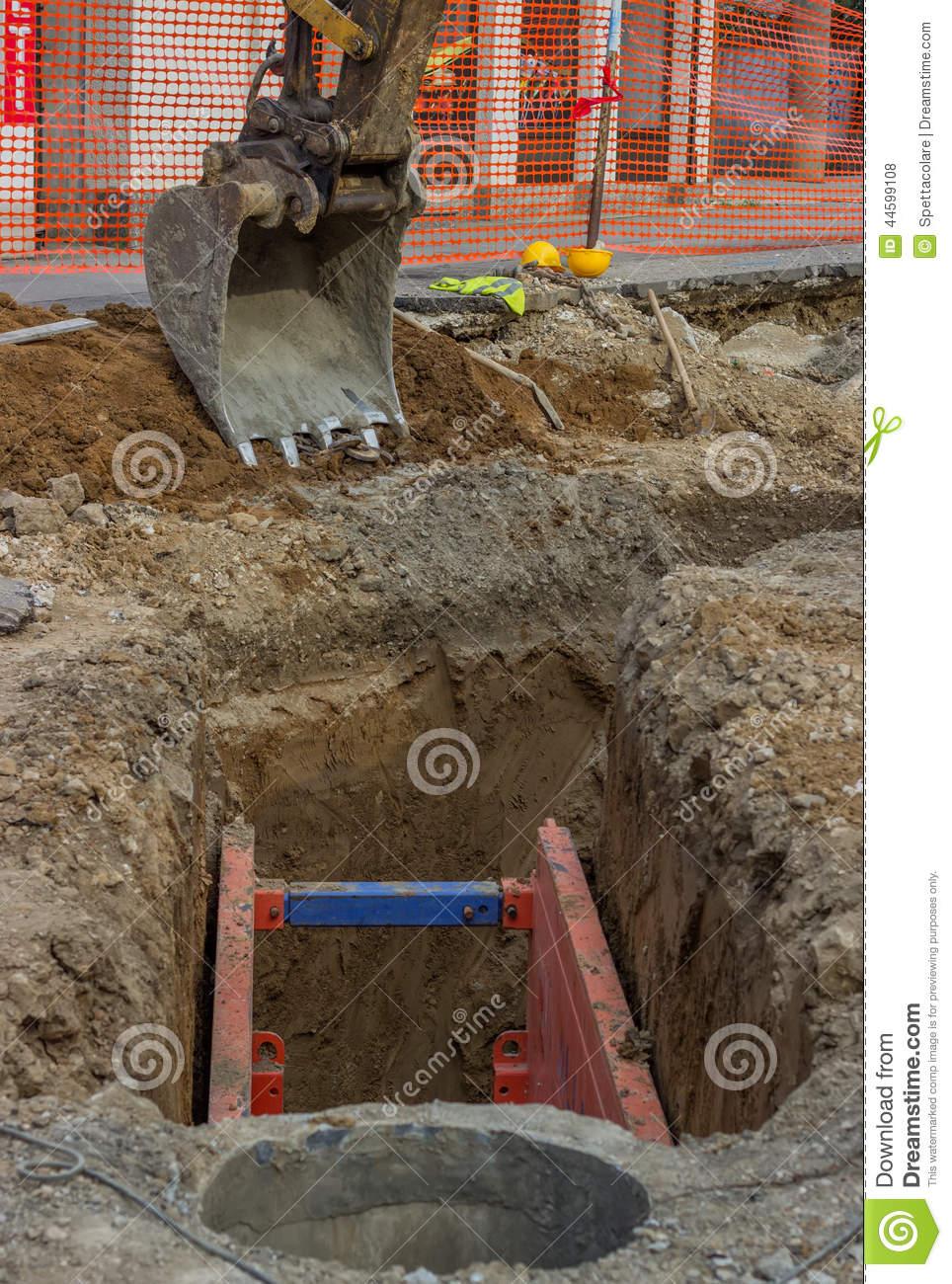 Metal Excavation Shoring 2 Stock Photo.