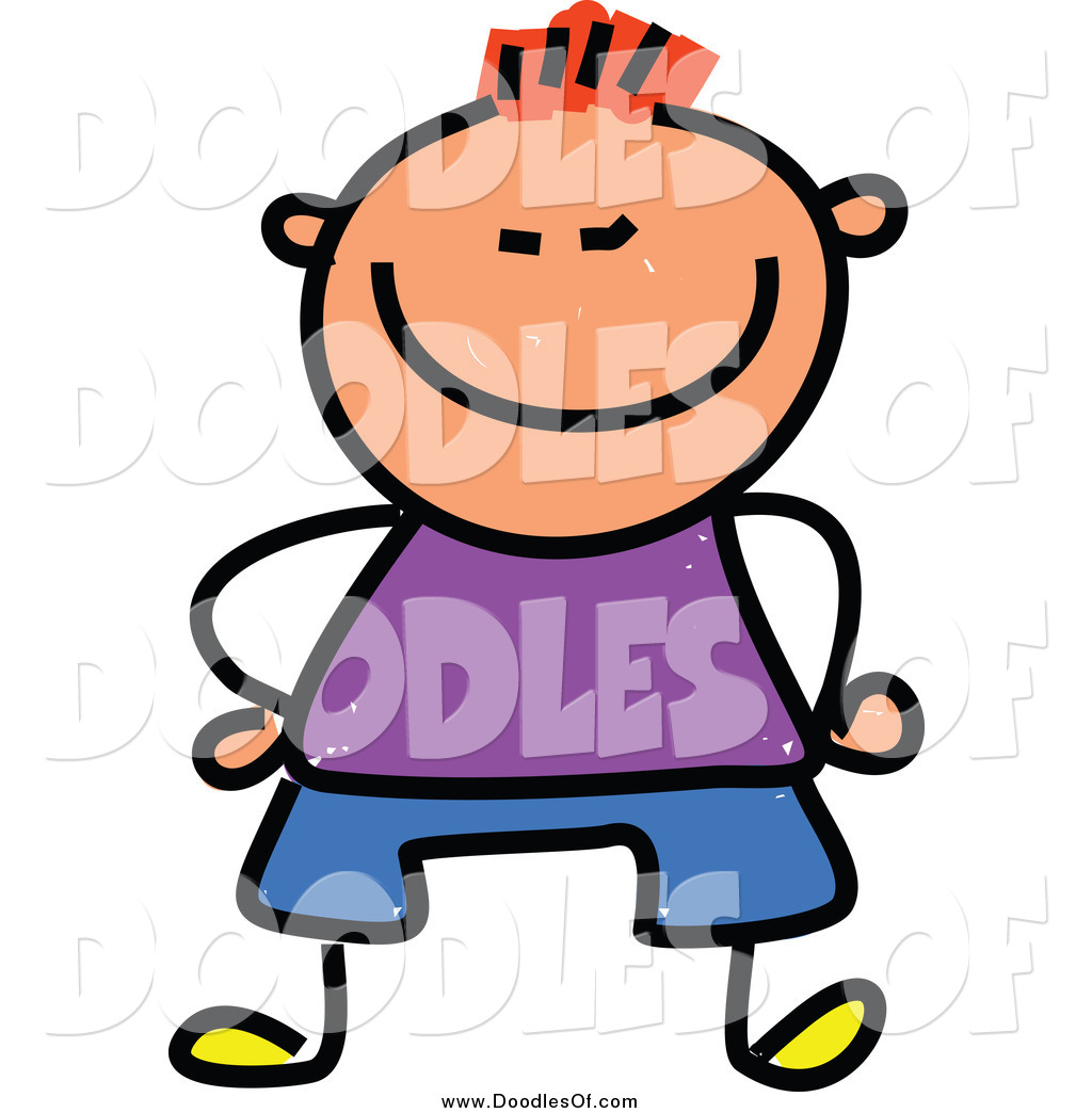 Vector Clipart of a Doodled Red Haired White Happy Short Boy.