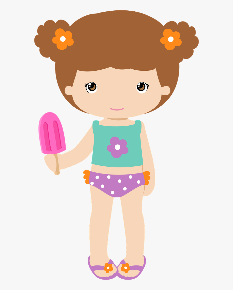 Cute Girl With Short Hair And Popsicle In Tankini.