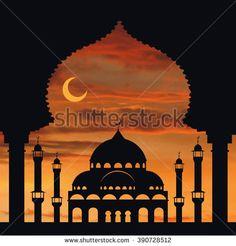 islamic religeion arabic architecture vector Vector.