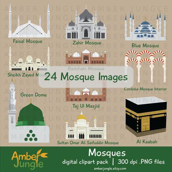 Mosque Clipart: Islam Muslim Masjid Mosque Clip Art Silhouette.