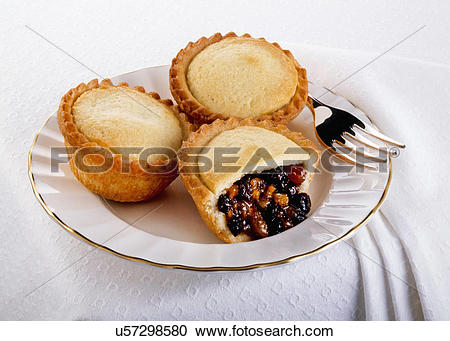 Stock Photography of Three Fruit Christmas Mince Pies In.