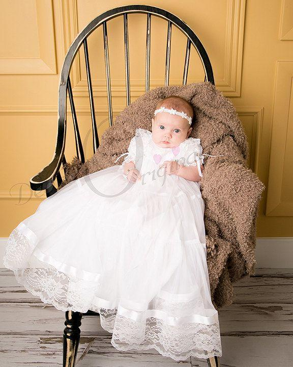 2017 2015 Lovely Short Sleeve Long Baptism Christening Gown Lace.
