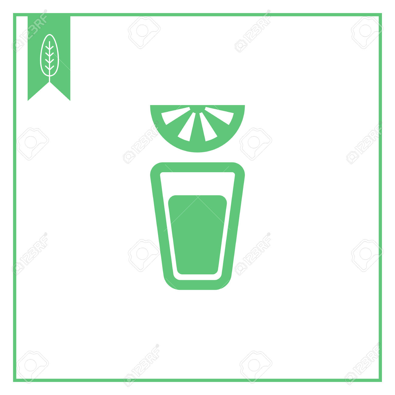 Vector Icon Of Tequila Short Glass And Lime Slice Royalty Free.