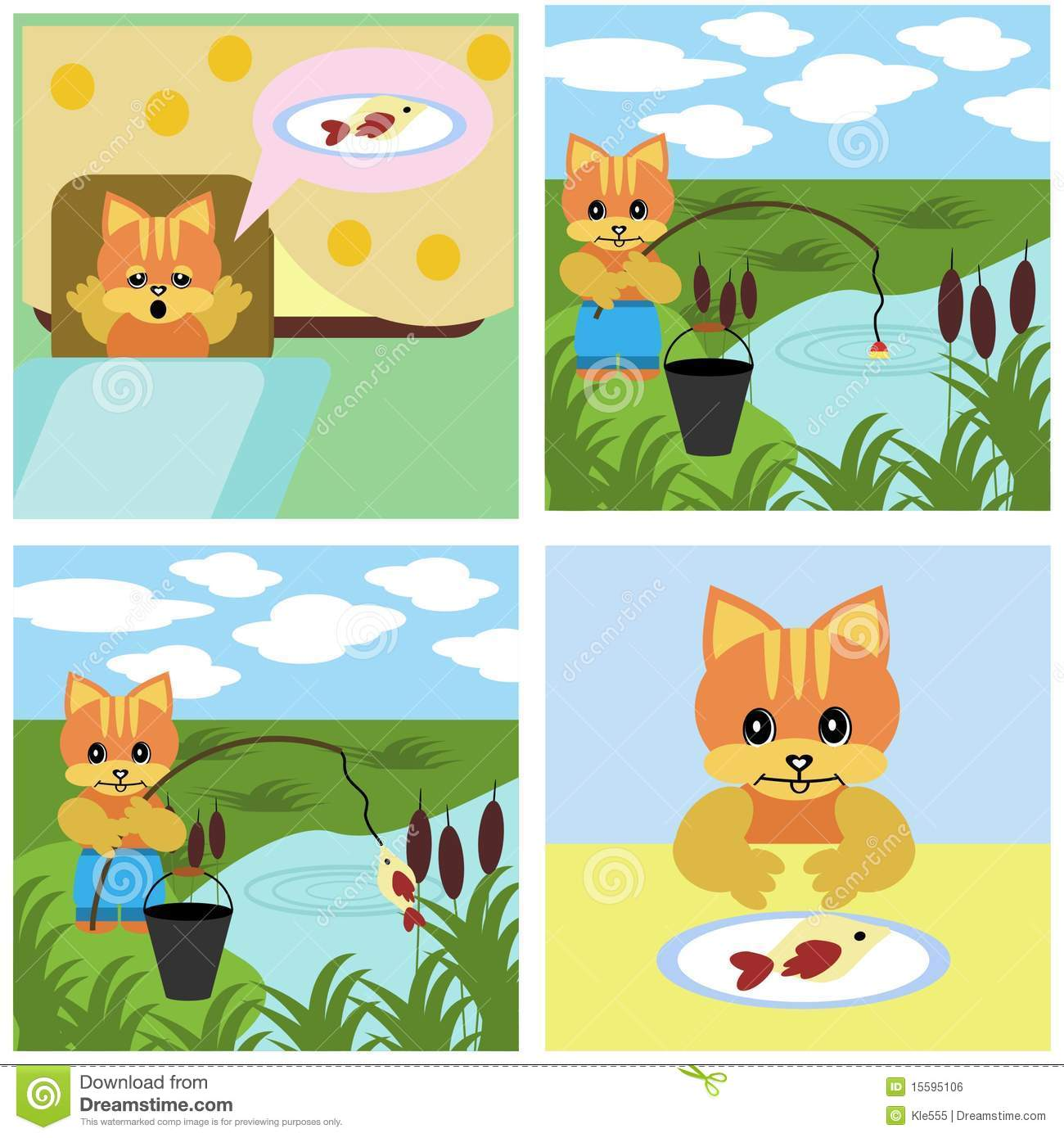 Comics Short Story About Cat Royalty Free Stock Image.