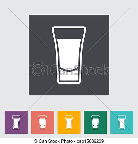 Vector Clipart of Shot drink. Single flat icon. Vector.