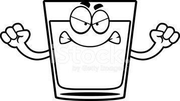 Angry Cartoon Shot Glass stock vectors.