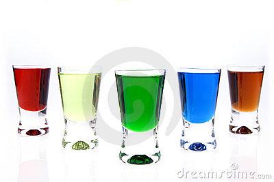 Shot Glasses Of Liqueurs Stock Photo.
