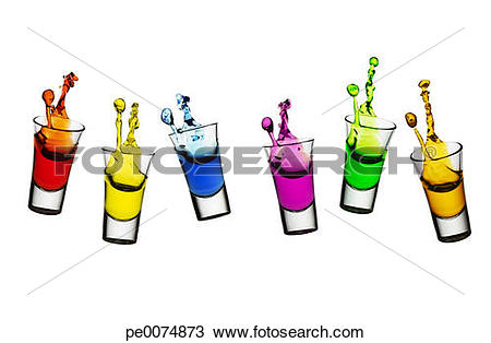 Stock Photo of Colorful liqueur spilling from shot glasses.